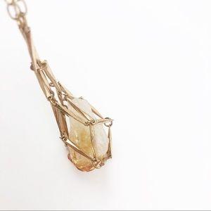 ANTHROPOLOGIE l Crystal Gold Necklace